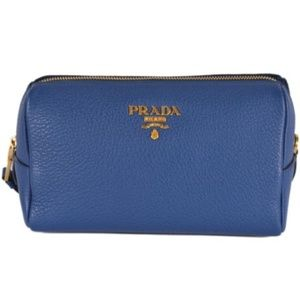 NWT Prada 1ND004 Blue Leather Cosmetic Bag